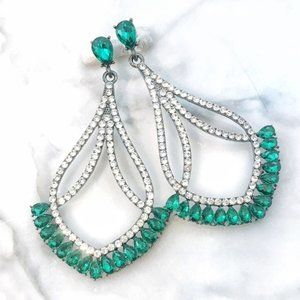 """Prom Pageant Bridal Jewelry - 3.5"""" Emerald Green Crystal Prom Pageant Earrings"""